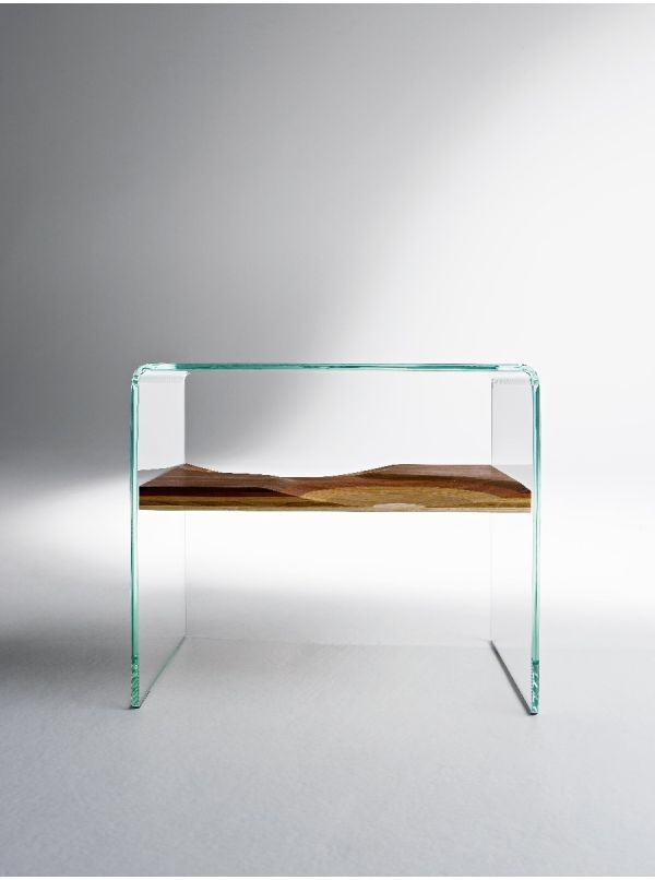 Bifronte glass/wood end table by Horm