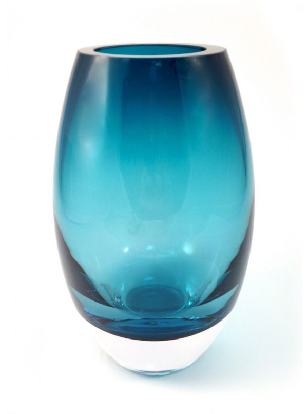 "Radiant Peacock Blue 9"" Vase"