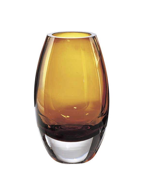 "Radiant European Mouth Blown Amber 9"" Vase"