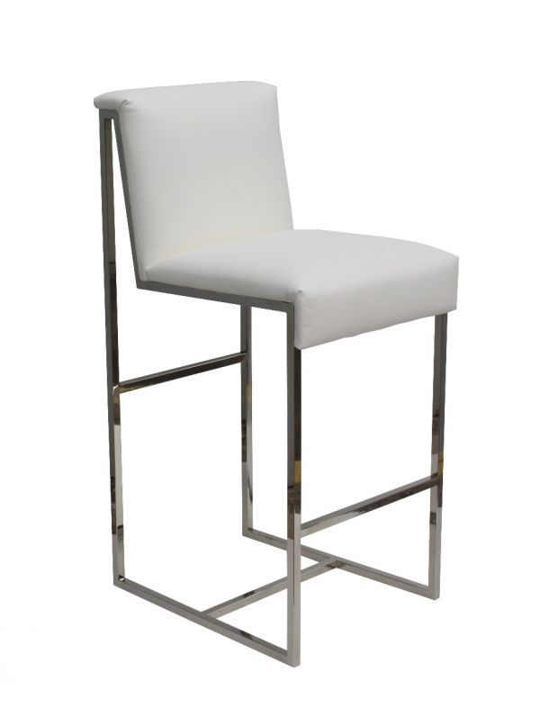 Diego Bar Stool, White Color and Silver Frame by Squadra